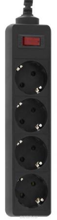 Сетевой фильтр CBR CSF 2450-5.0 Black PC, длина кабеля 5 м, 4 розетки, чёрный цвет, полиэт. пакет, CSF 2450-5.0 Black PC