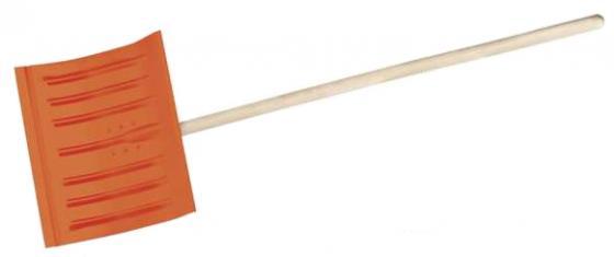 Лопата снеговая стальная с деревянным черенком, 430мм, оранжевая, СИБИН [421841]