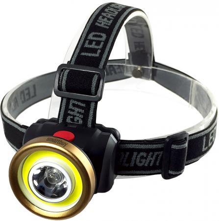 Smartbuy SBF-HL026 Светодиодный налобный фонарь 1 Вт LED+ 3 Вт COB smartbuy sbf 88 y аккумуляторный светодиодный фонарь 7 8 led с прямой зарядкой желтый