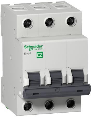 Выключатель автоматический Schneider Electric EASY9 ВА 3П 40А C 4.5кА 3DIN 3полюса 82х54мм цена в Москве и Питере