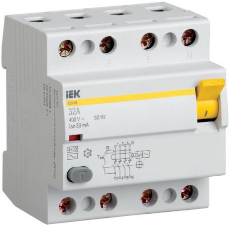 Выключатель дифференциального тока ИЭК 4п 63А/30мА УЗО MDV10-4-063-030 выключатель дифференциального тока узо schneider electric 4п 40а 30ма тип ac iid k acti9 sche a9r50440