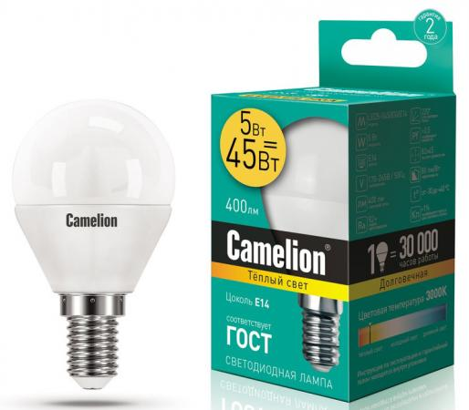 купить Лампа светодиодная шар Camelion LED5-G45/830/E14 E14 5W 3000K 12027 по цене 75 рублей
