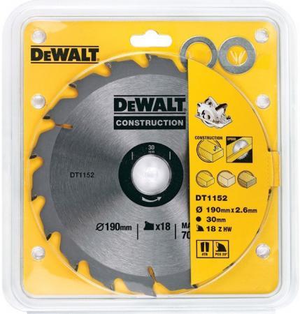 DeWalt DT 1152 Диск пильный Диск пильный,ф190х30х1.7мм,18зуб,д\\диск пил,д\\стр материалов, шт