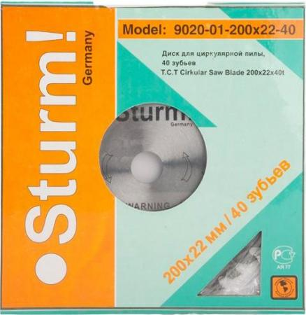 цена на Sturm! 9020-01-200x22-40 Пильный диск, размер:200x22-40, ТВЕРДОСПЛАВНАЯ ПЛАСТИНА ВК8, Sturm!, шт