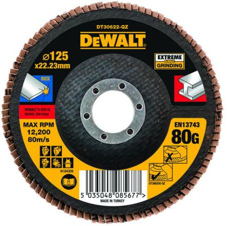 DeWalt DT 30622 Диск лепестков ф125х22мм,К80,д\\металла,плоский, шт dt gx420d gx42 202522 150