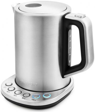 Чайник электрический KITFORT КТ-638 2200 Вт серебристый 1.5 л металл/пластик