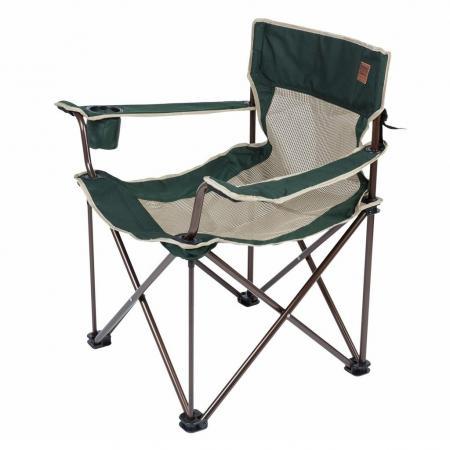 Кресло Camping World Villager S (чехол, подстаканник в подлокотнике, сетчатые спинка и седенье, усиленные ножки, вес 3.25кг, цвет зелёный)