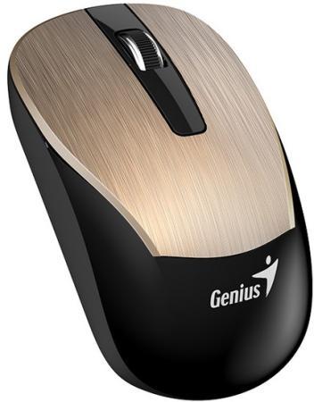 Мышь беспроводная Genius ECO-8015 Gold золотистый USB + радиоканал мышь беспроводная genius eco 8015 chocolate шоколадный usb радиоканал