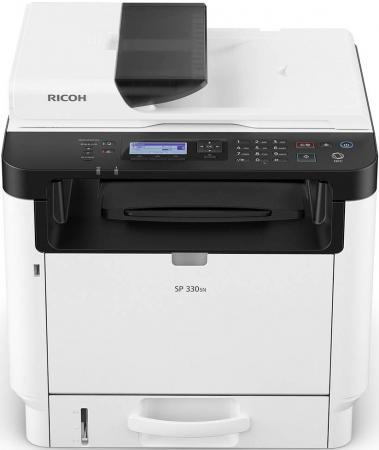 МФУ Ricoh SP 330SN <картридж 1000стр.> (копир-принтер-сканер, ADF, duplex, 32стр./мин., 1200x600dpi, LAN, Wi-Fi, A4, NFC) мфу ricoh sp 230sfnw копир принтер сканер факс adf 30стр мин 1200x600dpi lan wifi nfc a4