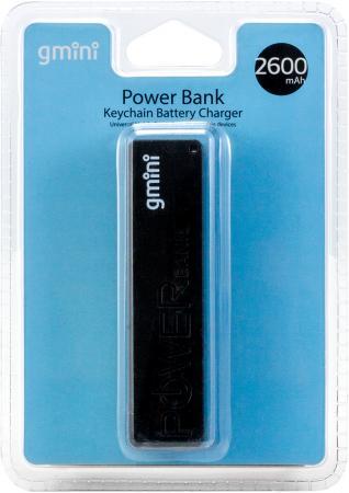 Внешний аккумулятор Gmini GM-PB026-B, 2600mAh, чёрный gm pb026 w