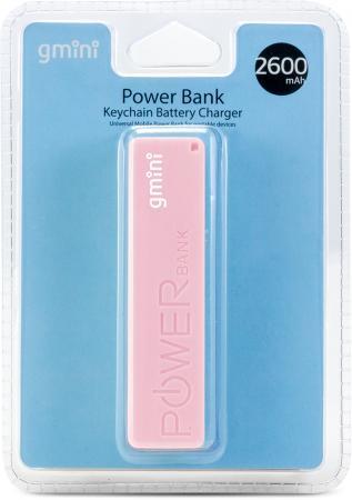 Внешний аккумулятор Gmini GM-PB026-P, 2600mAh, розовый gm pb026 w