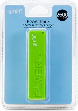 Внешний аккумулятор Gmini GM-PB026-G, 2600mAh, зелёный gm pb026 w
