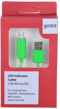 Кабель Gmini GM-LDC-200G, USB-Lightning с индикатором заряда, зелёный
