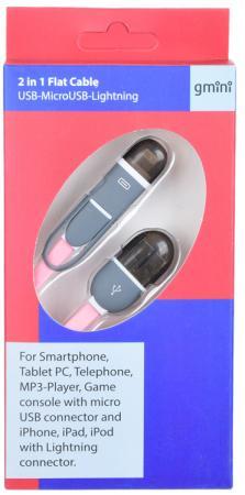 Кабель Gmini GM-FDC-220-IP6-MUSB-P, USB-microUSB+Lightning плоский, 1м, розовый стоимость