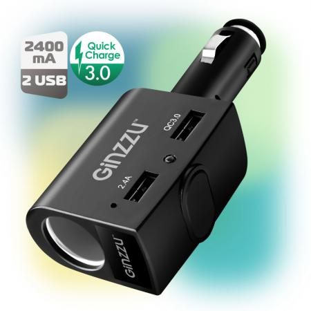 Фото - Автомобильное зарядное устройство GINZZU GA-4817UB 3 А 2 х USB черный автомобильное зарядное устройство orico ucl 2u bk 2 х usb 1 2 4 а черный