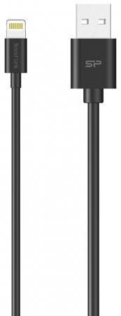 Кабель Lightning 1м Silicon Power SP1M0ASYLK10AL1K круглый черный кабель lightning 1м pqi i cable круглый 6pcb 001r0013a