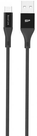 Кабель microUSB 1м Silicon Power SP1M0ASYLK30AB1K круглый черный цена и фото