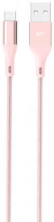 Фото - Кабель microUSB 1м Silicon Power SP1M0ASYLK30AB1P круглый розовый кабель silicon power microusb usb для зарядки и синхронизации 1м нейлон pink
