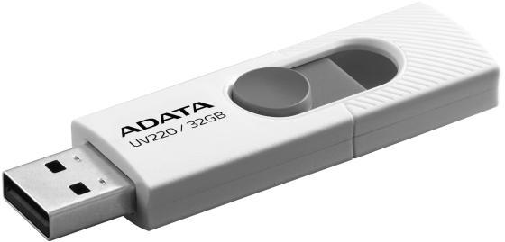 Фото - Флеш накопитель 32GB A-DATA UV220, USB 2.0, белый/серый флеш накопитель 64gb a data ud230 usb 2 0 cиний