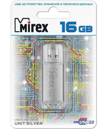 Флеш накопитель 16GB Mirex Unit, USB 2.0, Серебро флеш накопитель 16gb mirex city usb 2 0 синий