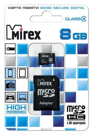 Флеш карта microSD 8GB Mirex microSDHC Class 4 (SD адаптер) флеш карта м