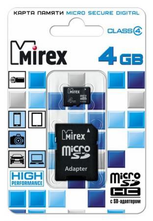 Флеш карта microSD 4GB Mirex microSDHC Class 4 (SD адаптер) apacer microsdhc 16gb class 4 адаптер