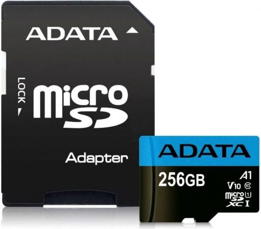 Фото - Флеш карта microSD 256GB A-DATA microSDHC Class 10 UHS-I A1 100/25 MB/s (SD адаптер) a data карта памяти 16gb premier a1 microsdhc uhs i class 10 adata 90 25 mb s с адаптером