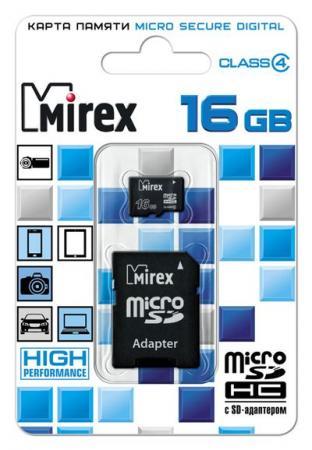 Флеш карта microSD 16GB Mirex microSDHC Class 4 (SD адаптер) карта памяти microsdhc 16gb kingston class 4 адаптер ридер mbly4g2 16gb