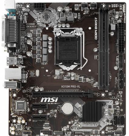 Материнская плата MSI MSI H310M PRO-VL Socket 1151 v2 H310 2xDDR4 2xPCI-E 16x 3xPCI-E 1x 4 mATX Retail цена и фото