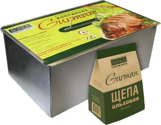 Универсальная коптильня Gurman, размер M( 375 х 275 х165), 2 яруса, вес 3,5 кг, щепа 0,8л в комплекте, подарочная упаковка