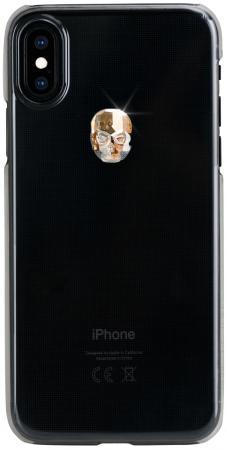Накладка Bling My Thing Treasure: Gold Skull для iPhone X XS прозрачный