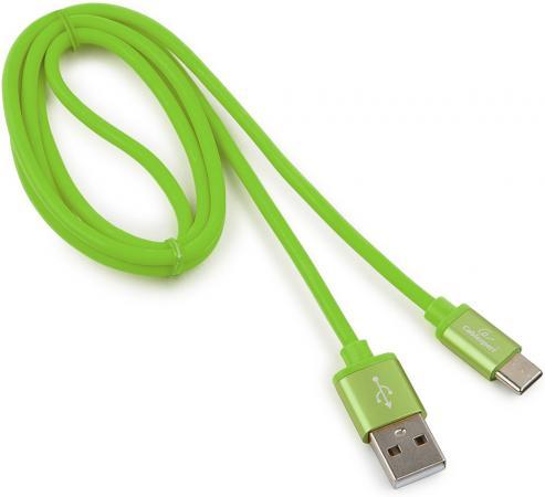 Фото - Кабель USB 2.0 Type-C 1м Cablexpert Silver круглый зеленый CC-S-USBC01Gn-1M стропа edelweiss edelweiss 16 мм цветная зеленый 1м