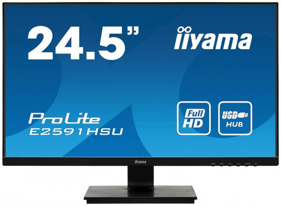 "Монитор 25"" iiYama ProLite E2591HSU-B1 черный TN 1920x1080 250 cd/m^2 1 ms HDMI DisplayPort VGA Аудио USB цена и фото"