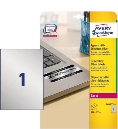 Этикетки Avery Zweckform L6013-20 A4 210x297мм 1шт на листе/198г/м2/20л./серебристый самоклей. для лазерной печати пленка avery zweckform l4000 10 198г м2 10л белый самоклей для лазерной печати