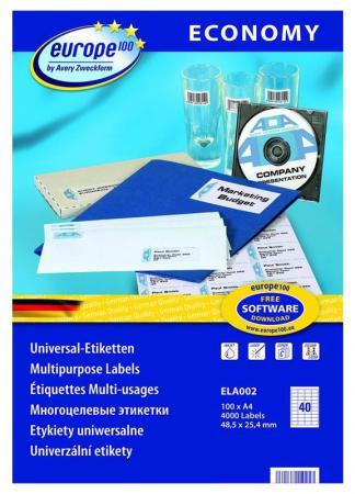 Этикетки Europe100 ELA002-100 ELA002 A4 48.5x25.4мм 40шт на листе/70г/м2/100л./белый матовое самоклей. универсальная этикетки europe100 ela050 100 ela050 a4 48 5x16 9мм 64шт на листе 70г м2 100л белый матовое самоклей универсальная