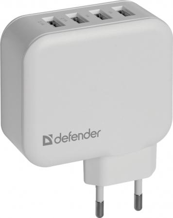 Сетевое зарядное устройство Defender UPA-60 6.2A белый 83544 сетевое зарядное устройство defender upa 20 1xusb 5v 2а