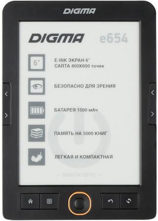 "лучшая цена Электронная книга Digma E654 6"" E-Ink Carta 800x600 600MHz/4Gb/microSDHC графит [1066710]"
