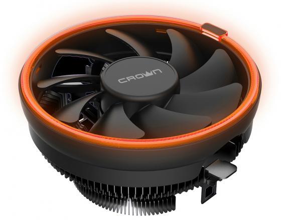Купить CROWN Кулер для процессора CM-1153PWM ORANGE (Сокет AM4 Ready, 115X, 775, TDP до 115 Ватт, коннектор 4pin PWM, Оранжевая подсветка, Размер: 126(L)*126(W)*70(H)мм)