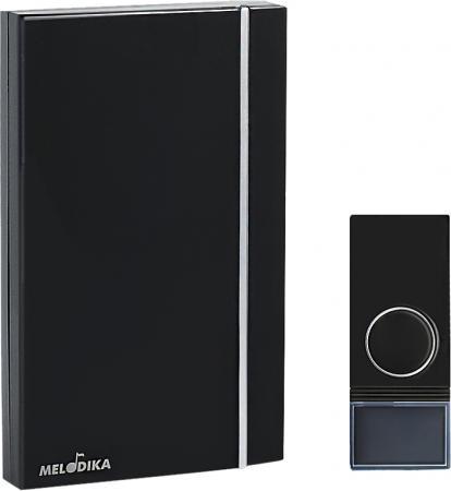 Звонок на батарейках МЕЛОДИКА Б812 черный беспроводной 32 мелодии, влагозащищенная кнопка звонок на батарейках 3 мелодии мелодика б250 4606400411154