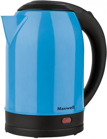 Чайник электрический Maxwell MW-1066(B) 1850 Вт синий чёрный 1.7 л нержавеющая сталь цена и фото