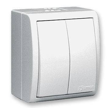 цена Выключатель SIMON 15 Aqua 1594398-030 2-клавишный белый наружный IP54