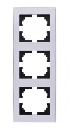 Рамка LEZARD 703-0202-153 серия Рейн 3-ая вертикальная белый с белой вставкой цены