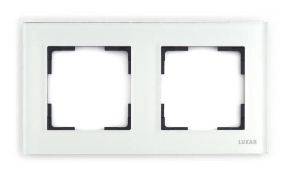 Купить Рамка LUXAR Art 15.902.20 на 2 поста белое стекло горизонт.