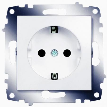 Розетка ABB COSMO 619-010200-217 белый с/з abb розетка акустическая abb impuls черный бриллиант
