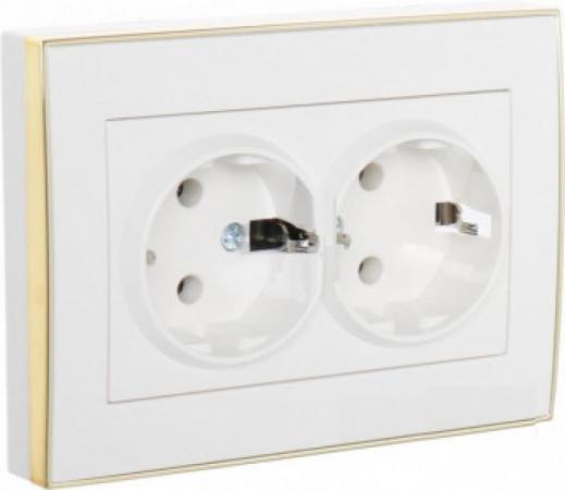 Розетка LEZARD 703-0226-128 серия скр.проводки Рейн двойная б/з керамика белый с золотой вставкой цена