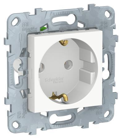 Розетка SCHNEIDER ELECTRIC NU505618 unica new с зазем. без штор. быстрозажим. клем 16а 250в бел