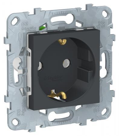 Розетка SCHNEIDER ELECTRIC NU505654 unica new с заземл. без шторок быстрозаж. клеммами антрацит