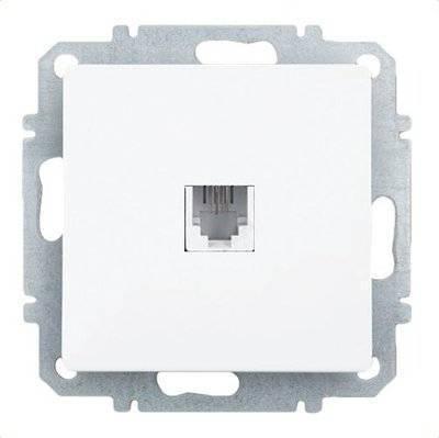 Розетка ZAKRU 600338 CLASICO телефон (Белый) 150В 6P2C цена и фото