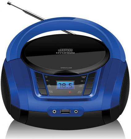 Аудиомагнитола Hyundai H-PCD340 черный/синий 4Вт/CD/CDRW/MP3/FM(dig)/USB/BT/SD/MMC/microSD цена