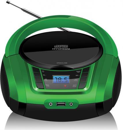 лучшая цена Аудиомагнитола Hyundai H-PCD360 черный/зеленый 4Вт/CD/CDRW/MP3/FM(dig)/USB/BT/SD/MMC/microSD